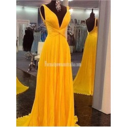 Long Formal Dress Prom Dress Bright Yellow Sleeveless V Neck Ruched Knot Waist Low V Back Chiffon Evening Gown