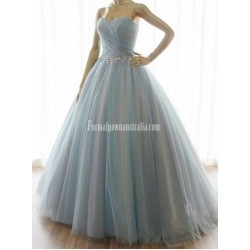 Grey-blue Color Sweetheart Formal Dress Crystals Princess Gallgown Wedding Dress