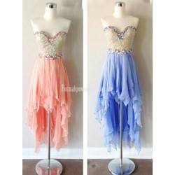 Asymmetrical Handmade Sweetheart High-low Chiffon Short Formal Homecoming Dresses/Prom Dress
