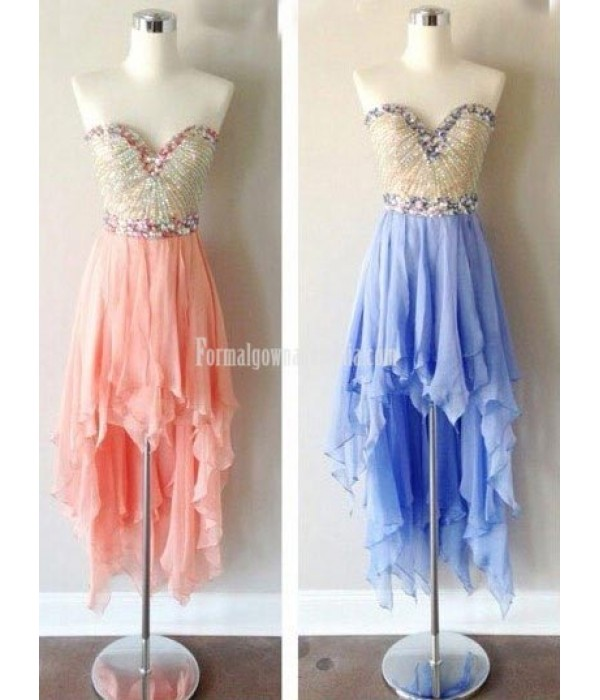 Asymmetrical Handmade Sweetheart High-low Chiffon Short Formal Homecoming Dresses/Prom Dress New