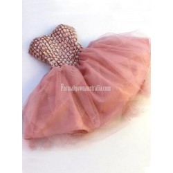 Sweetheart Crystals Tulle Mini Length Blush Pink Red Corset Formal Prom Dress Backless Party Gown