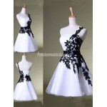 Black and White Short Mini Evening Gown Party Grad Formal Dress Prom Bridesmaid Dress New