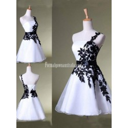 Black and White Short Mini Evening Gown Party Grad Formal Dress Prom Bridesmaid Dress