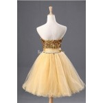 Simple-dress Classic Gold Sparkle Short Tulle Formal Cocktail Dress New