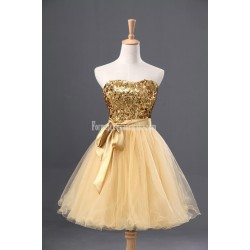 Simple-dress Classic Gold Sparkle Short Tulle Formal Cocktail Dress