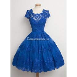 Vintage Scalloped-Edge Cap Sleeves Lace Blue Short Formal Prom Cocktail Party Dress