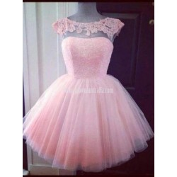 Simple Elegant Ball-gowns Beading Scoop Pink Short Tulle Formal Dress Prom Dress