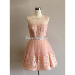 Short Lace Formal Dress With Beaded Waist Party Prom Dress