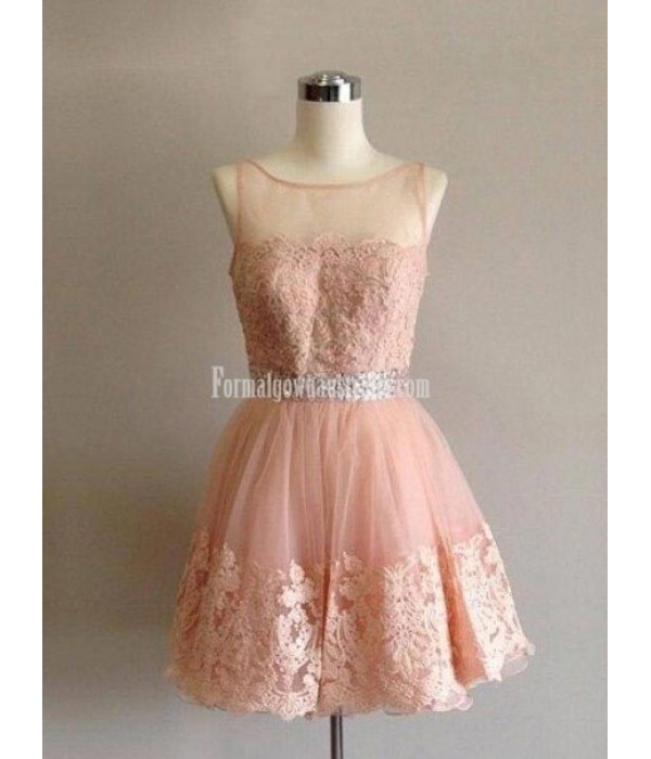 Short Lace Formal Dress With Beaded Waist Party/Prom Dress New