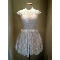 Simple Scoop Short Lace Formal Dress Party Sweet Dress