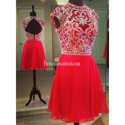 Handmade Beaded Capped Mini Red Chiffon Formal Homecoming Cocktail Dress