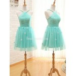 Mint Green Halter Neck Sleeveless Pretty Flower Tulle Short Formal Bridesmaid Dress New