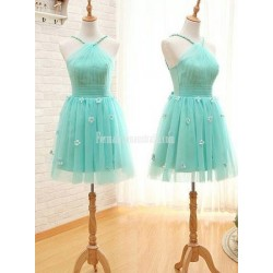 Mint Green Halter Neck Sleeveless Pretty Flower Tulle Short Formal Bridesmaid Dress