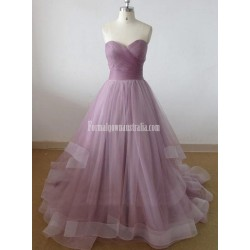 Elegant Strapless A-line Floor-length Long Tulle Ball Quinceanera Formal Wedding Gown