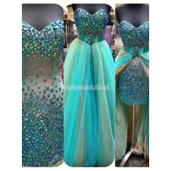 Removable Skirt Rhinestones Sparkling 2 Pieces Prom Sweetheart Tulle Sheath Formal Dress Party Gown