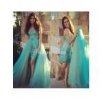 Removable Skirt Rhinestones Sparkling 2 Pieces Prom Sweetheart Tulle Sheath Formal Dress Party Gown New