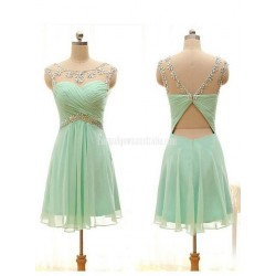 Mint green chiffon short formal dress for teenagers Keyhole crystal Backless Mini dress