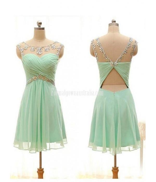 Mint green chiffon short formal dress for teenagers Keyhole crystal Backless Mini dress New