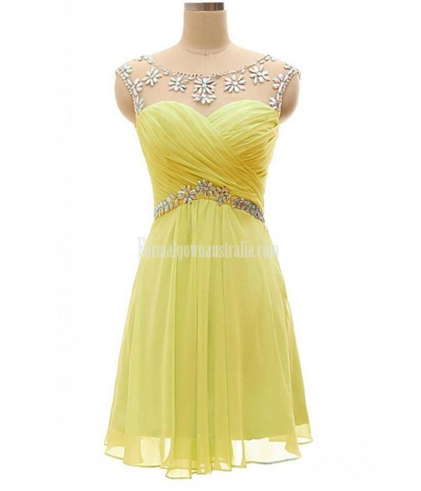 Chiffon short dress for teenagers Keyhole crystal Backless Mini/Party Formal dress New