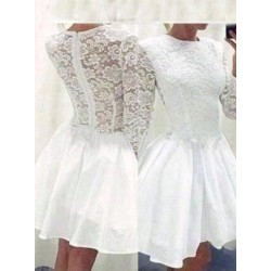 Elegant  Long Sleeves White Short Lace Formal Homecoming Dresses/Party Dresses