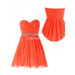 A-line Zipper Back Sweetheart Ruched Chiffon Beading Formal Homecoming Dress New