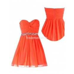 A-line Zipper Back Sweetheart Ruched Chiffon Beading Formal Homecoming Dress