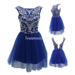 Homecoming New Fashion Silver Beads Short Prom Sweet Dress For Summer Formal Teens
