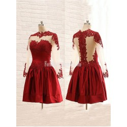 Stunning Maroon High Collar Sheer Long Sleeves Mini Formal Homecoming Dress
