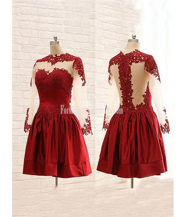 Stunning Maroon High Collar Sheer Long Sleeves Mini Formal Homecoming Dress New