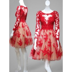 Red Lace Short Formal Homecoming Prom Dress With Long Sleeves Sheer Back