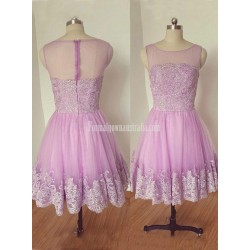 Homecoming Dress With Applique Scoop Neck Sleeveless A Line Short Formal Dress Prom Dress