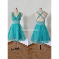 Sexy V-neck Blue Tulle Beading Short Formal Dress Prom/Party Graduation Dress