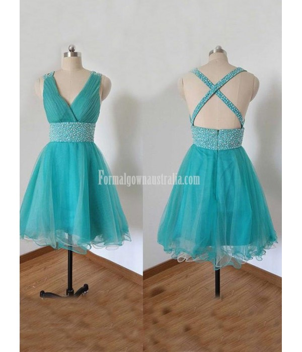 Sexy V-neck Blue Tulle Beading Short Formal Dress Prom/Party Graduation Dress New