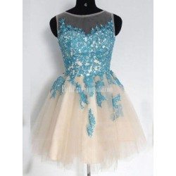 Elegant A-line Scoop Short Tulle Formal Dresses/Party Dresses/Cocktail Dresses