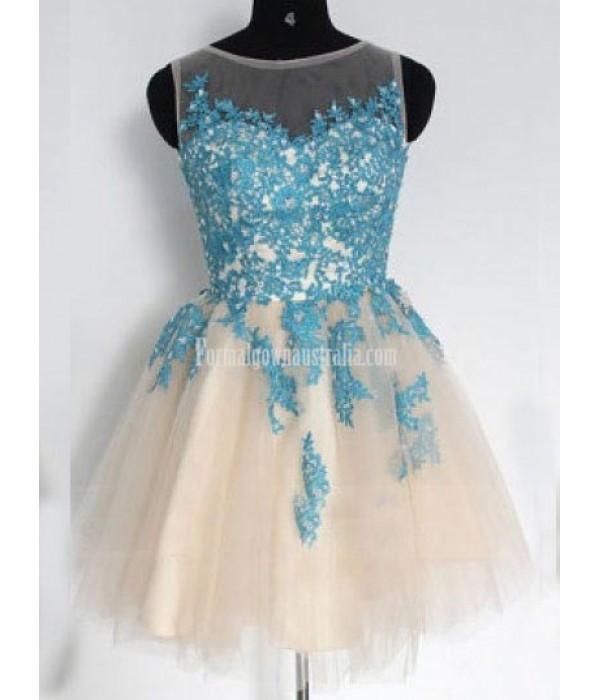 Elegant A-line Scoop Short Tulle Formal Dresses/Party Dresses/Cocktail Dresses New