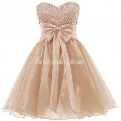 Sweethear Neck Short Lace Mini Party Dress Appliques Sleeveless Formal Evening Dress With Bowknot
