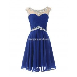 Short Chiffon Round Neckline with Beadings Lovely Knee Length Formal Prom Homecoming Dress