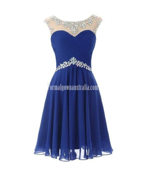 Short Chiffon Round Neckline with Beadings Lovely Knee Length Formal Dress Prom Homecoming Dress New