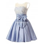 Short Taffeta Lace Bodice Button Back Formal Homecoming,Party,Bridesmaid Dress With Bowknot New