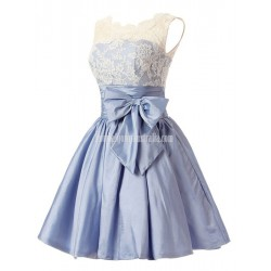 Short Taffeta Lace Bodice Button Back Formal Homecoming,Party,Bridesmaid Dress With Bowknot