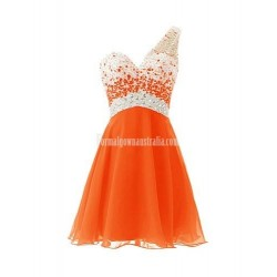Melantha One Shoulder Beaded Bodice Short Formal Homecoming Dress