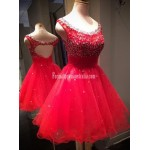 A-line Scoop Sleeveless Short Tulle Beading Red Formal Homecoming Dress/Party Dress New