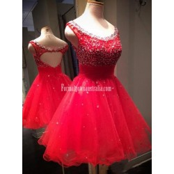 A-line Scoop Sleeveless Short Tulle Beading Red Formal Homecoming Dress/Party Dress