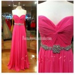 Elegant Princess Strapless Empire Long Chiffon Formal Dress Prom Dress/Long Homecoming Dress/Evening Dress New