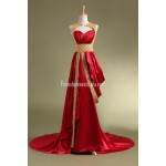 Sheath Evening Gowns Sweetheart with Beaded sequined high Neck Sweep Train Vestidos Prom Dress New