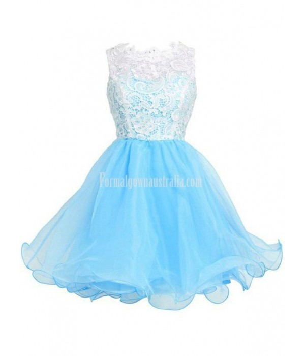 A-line Sleeveless Short/Mini Organza Formal Homecoming Dress/Cocktail Dress With White Top Lace New