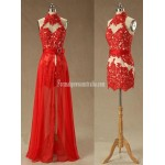 Beading Appliques Halter Lace Prom Dress-High Neck Red Removable Formal Homecoming Dress New