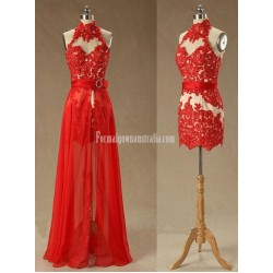 Beading Appliques Halter Lace Prom Dress-High Neck Red Removable Formal Homecoming Dress