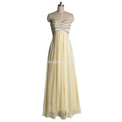 A-line Sweetheart Beading Floor-length Chiffon Zipper-up Formal Dress Prom Dress Evening Dress