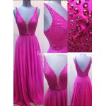 Deep V-neck Beading Fuchsia Empire Long Chiffon Prom Dresses Formal Dress Evening Gowns New